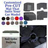 Broz Proton Wira 12MM Customized PRE CUT PVC Coil Floor Mat with Driver Rubber Pad Anti Slip Carpet Nail Spike Backing - Grey + Black