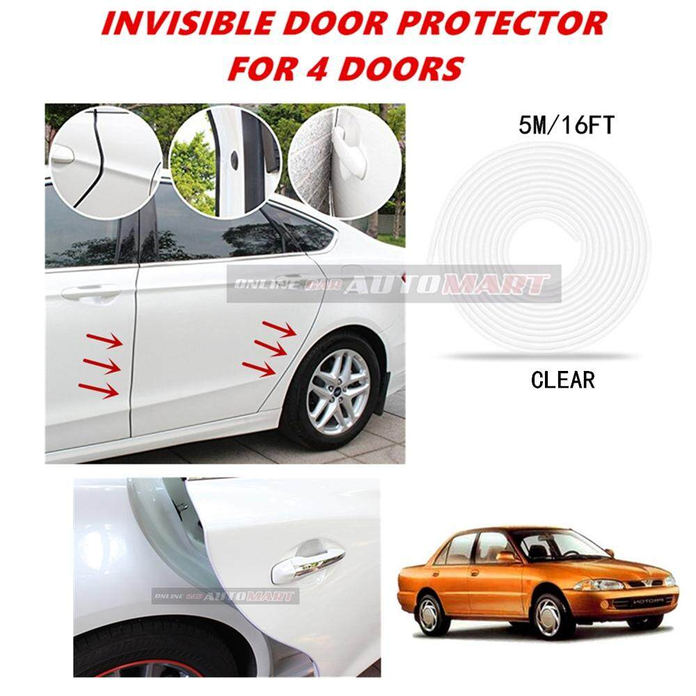 Proton Wira - 16FT/5M (CLEAR) Moulding Trim Rubber Strip Auto Door Scratch Protector Car Styling Invisible Decorative Tape (4 Doors)