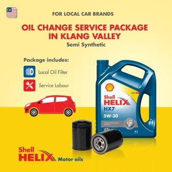 Proton/Perodua Car - Semi Synthetic Shell Helix HX7 SN 5W-30 (4L) Engine Oil Change Service Package (Klang Valley)