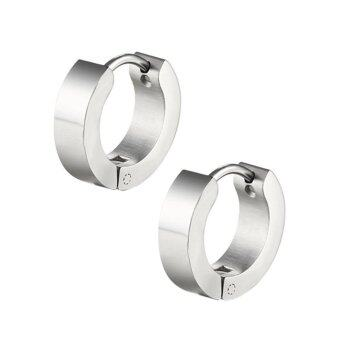 Punk Men Women Hoop Ear Stud Stainless Steel Earring Hoop Piercing Silver