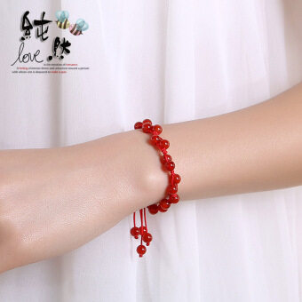 Pure jewelry natural red agate handmade woven lucky evil Red String bracelet can be adjusted animal year accessories