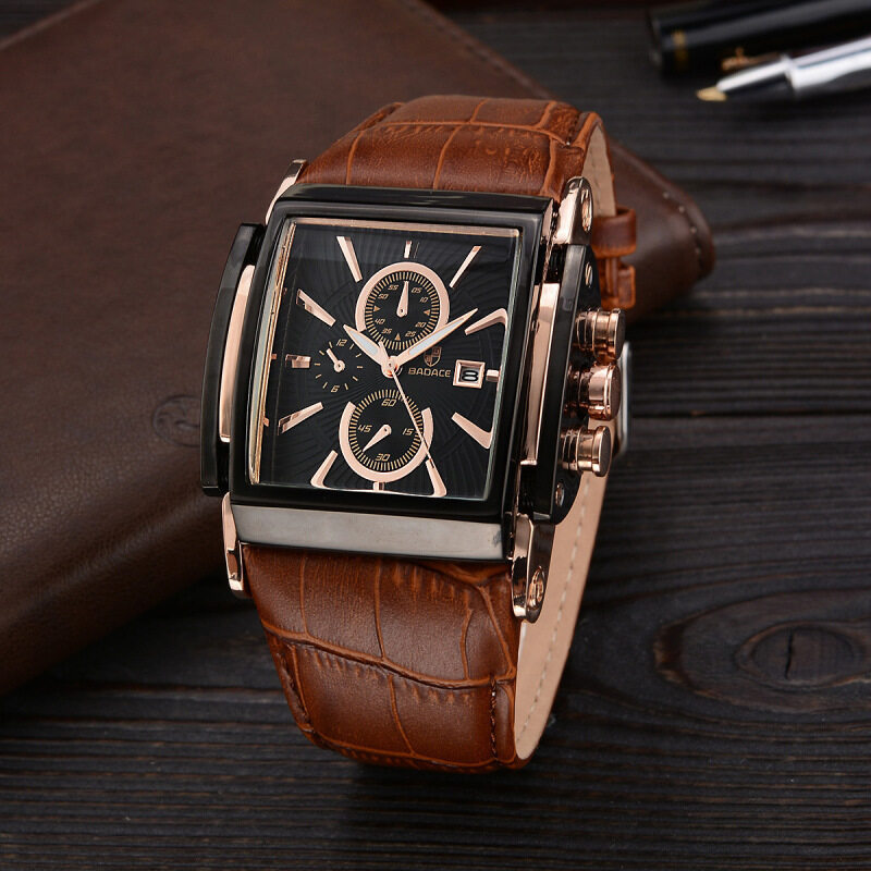 Quick selling explosion man watches, brand watches, mens square leather leather belt watches, multi-function watches Malaysia