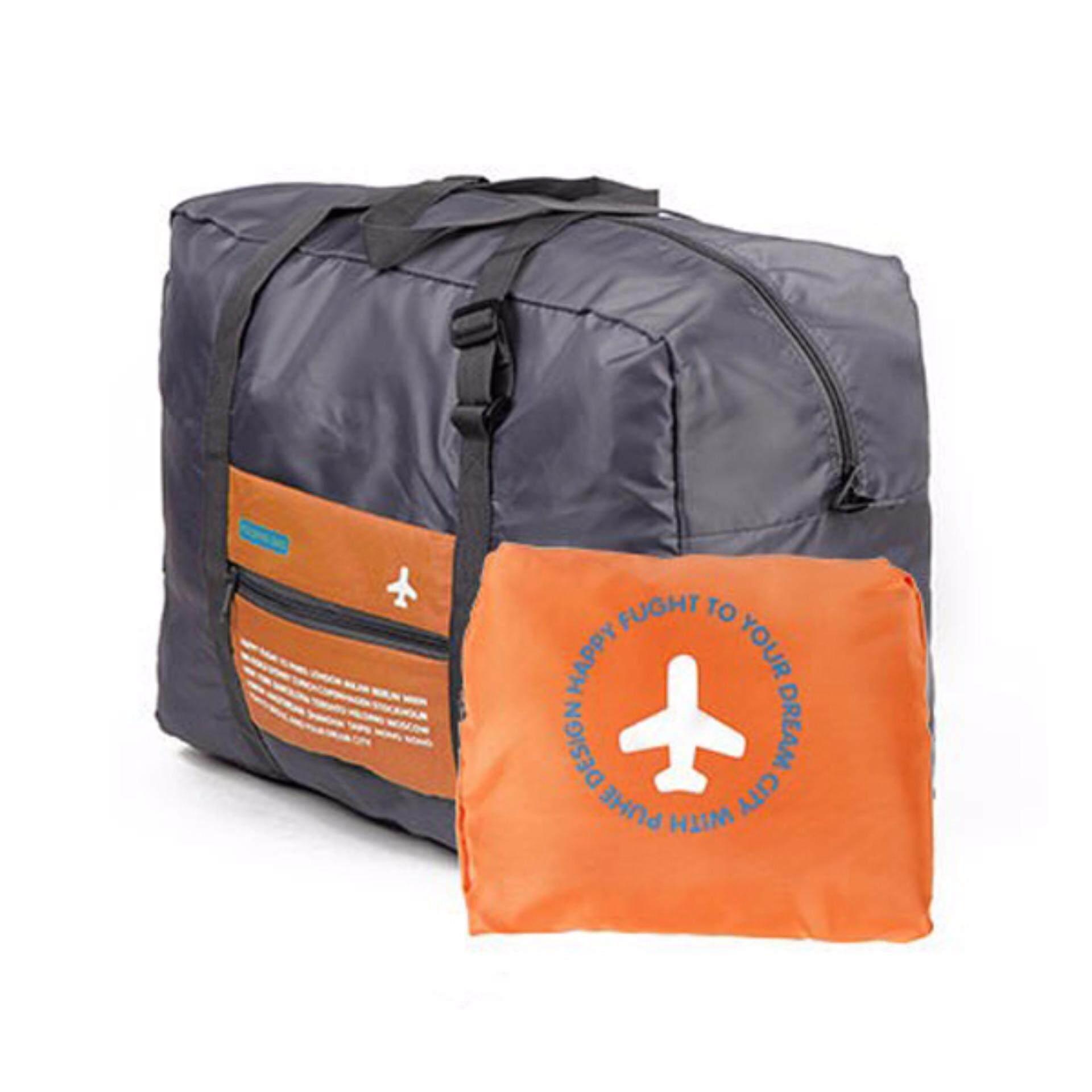 [ READY STOCK ] Large Capacity 32L Foldable Travel Luggage Bag -Orange