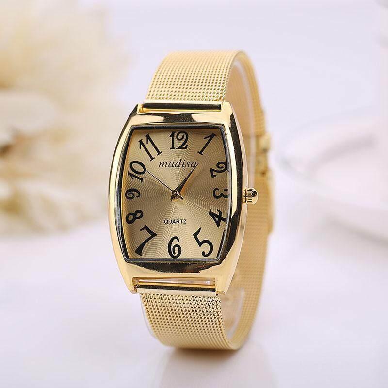 Rectangular Head Women Lady Classic Quartz Stainless Steel Wrist Watch gold Malaysia
