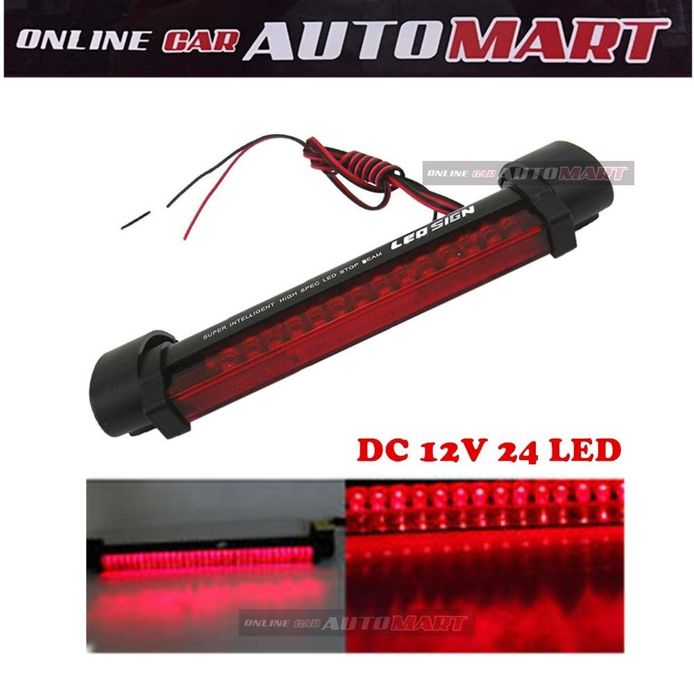 Red Car Auto Third 3RD Brake Light 12V 24 LED High Mount Stop Rear Tail Warning Light Lamp