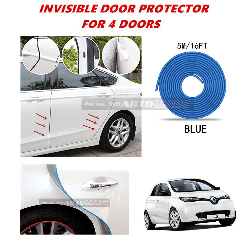 Renault Zoe Electric - 16FT/5M (BLUE) Moulding Trim Rubber Strip Auto Door Scratch Protector Car Styling Invisible Decorative Tape (4 Doors)