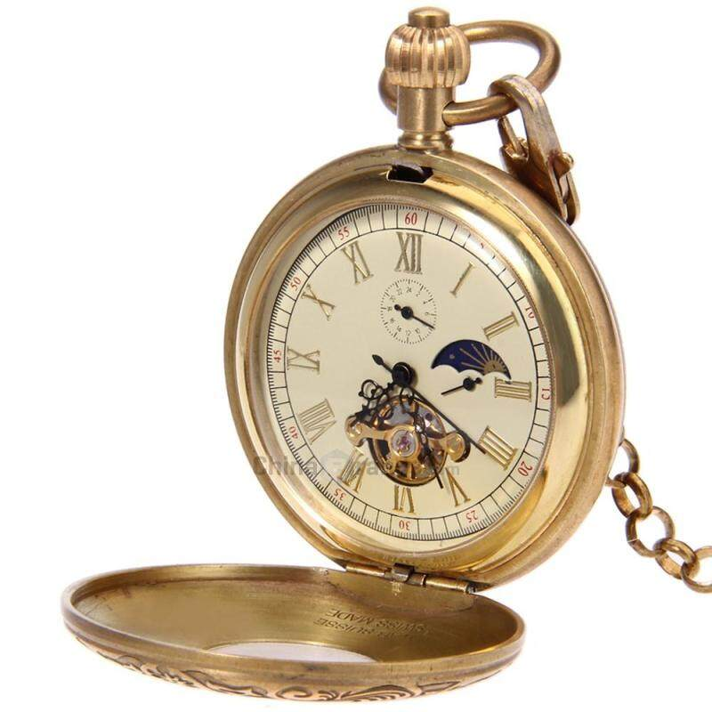 Retro Mechanical Pocket Watch Tourbillon 12 / 24 Hour Display Moon Phase Floral Pattern Wristwatch Malaysia