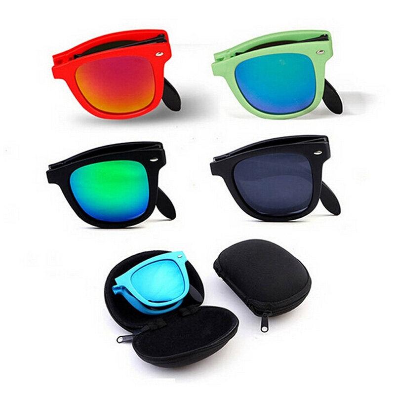 ... Retro Pria Wanita Kacamata Hitam Lipat Kacamata Olahraga Perlindungan  UV Matahari Kacamata Coklat-Internasional ... b148bb240e