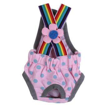 Harga Reusable Washable Female Dog Diaper Menstrual Suspender CottonPants(Dot Pink XXS)