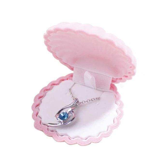 Cincin Kalung Anting Kotak Hadiah Beludru Tampilan Wadah Perhiasan Berwarna Merah Muda-Internasional - 2