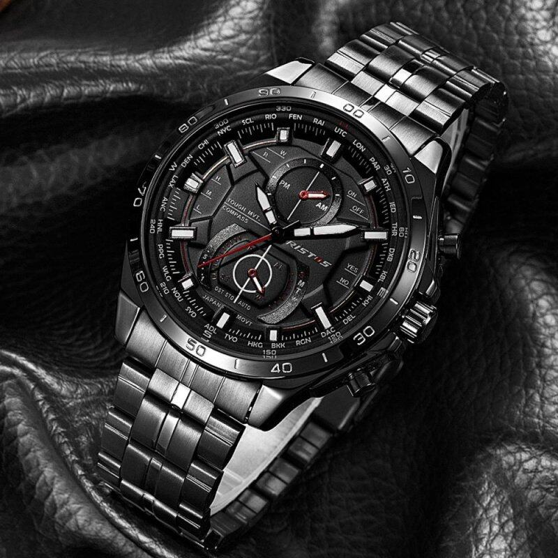 RISTOS Cool Stainless Steel Strap Round Business Sport Quartz Watch For Mans Fashion 9325 Malaysia