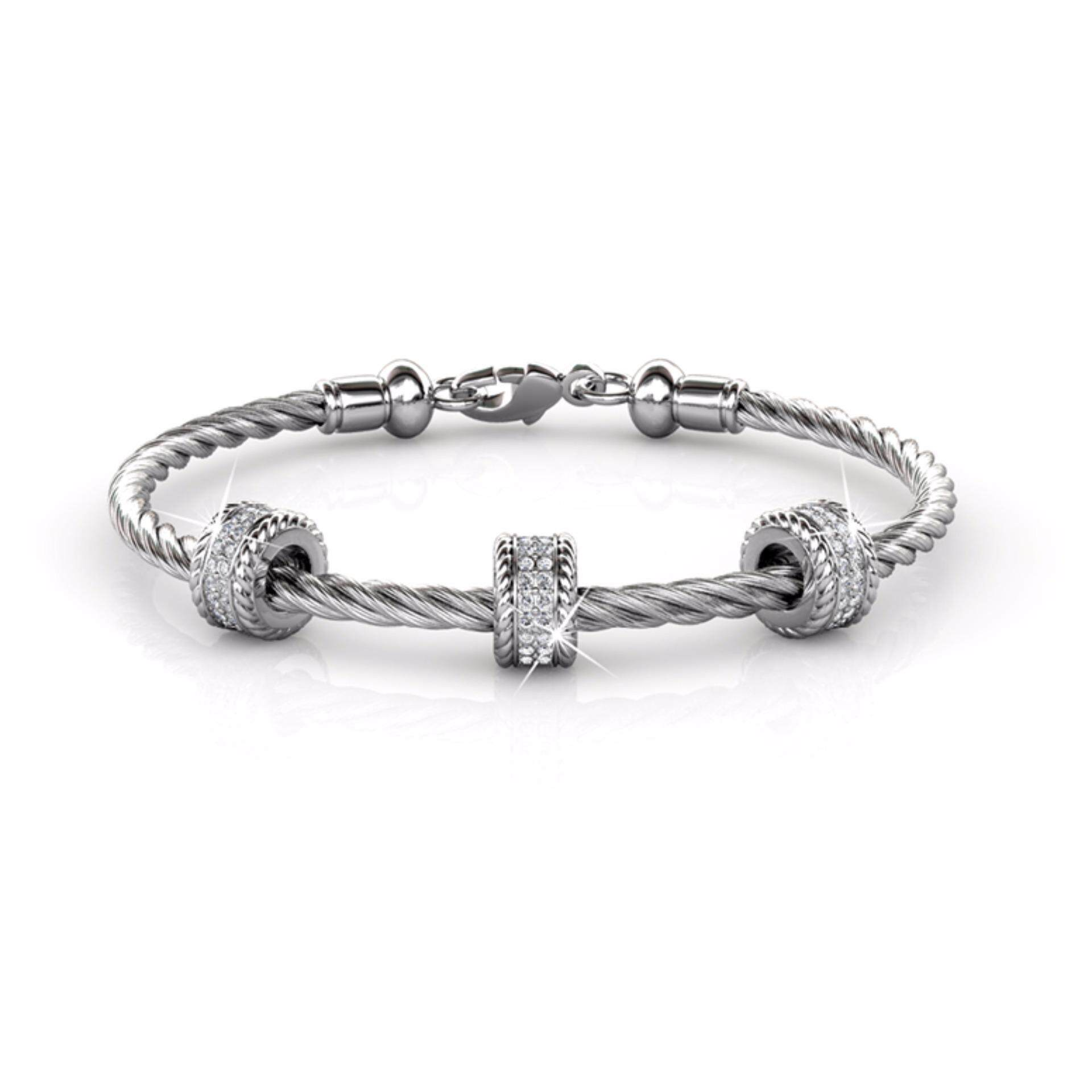 Bangle Roller (White Gold) Embellished With Crystals From Swarovski - Her Jewellery