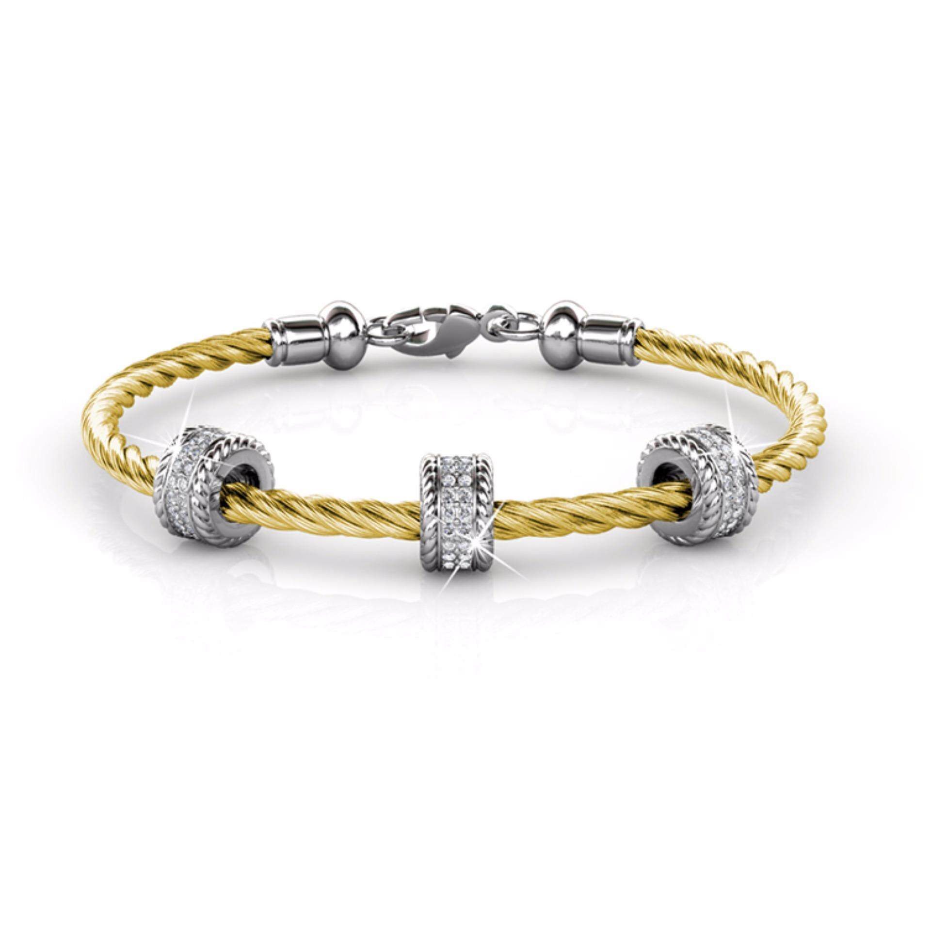 Bangle Roller (Yellow Gold) Embellished With Crystals From Swarovski - Her Jewellery