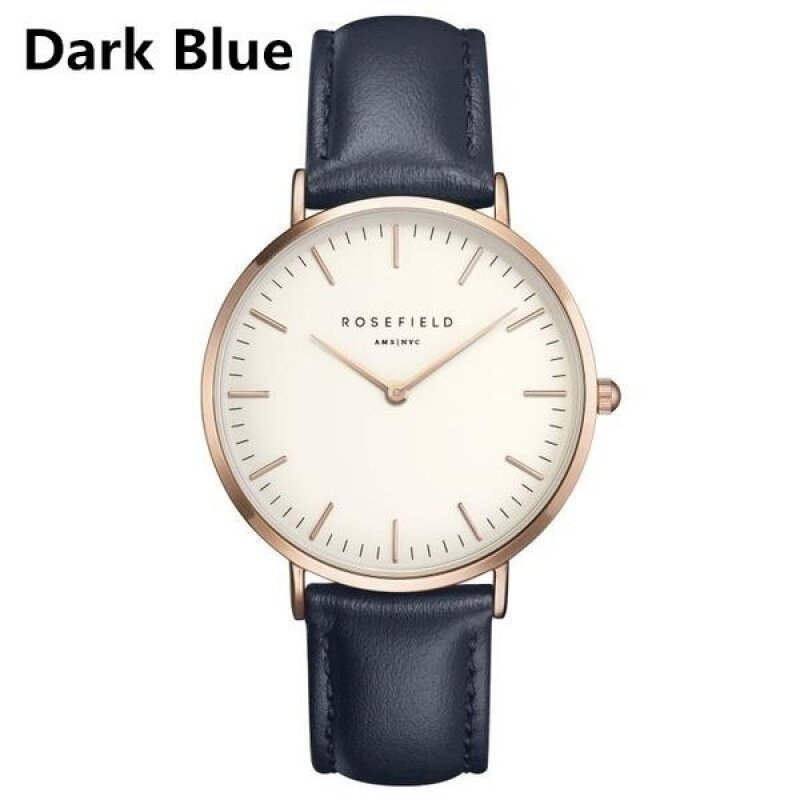 ROSEFIELD Watch Golden Genuine Leather Quartz Movement Water Resistant 3ATM Watch Women Dress Men Sports Famous Brand Watch dark blue Malaysia