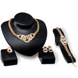 SAGE 5 pcs Luxury Banquet Women Bridal Crystal Choker Necklace Earring Bracelet Chandelier Ring Jewelry Set