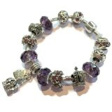 SAGE Just For You European Style Charm Bracelet with Heart & Crown Dangles (Purple) + FREE Jewelry Gift Box