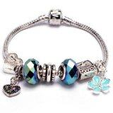 SAGE Just For You European Style Charm Bracelet with Heart & Flower Dangles (Blue) + FREE Jewelry Gift Box