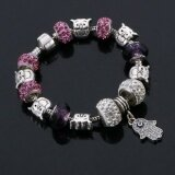SAGE Just For You European Style Charm Bracelet with Owl & Palm Dangles (Purple) + FREE Jewelry Gift Box