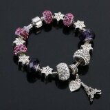 SAGE Just For You European Style Charm Bracelet with Star Shapes and Eiffel Tower Dangle (Purple) + FREE Jewelry Gift Box