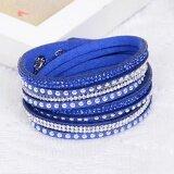 Sage Mystique Colored Crystal 2-wrap Leather Bracelet - Dark Blue