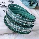 Sage Mystique Colored Crystal 2-wrap Leather Bracelet - Green