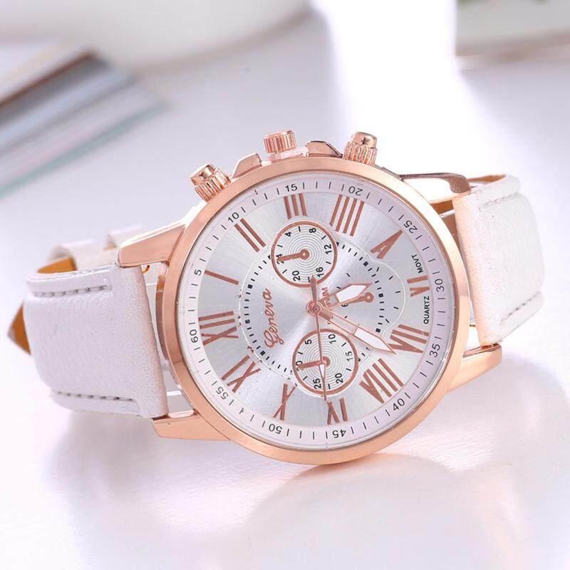 SALE Geneva Luxury Round Stainless Steel Leather Unisex Simple Classic Casual Quartz Men / Women Fashion Watch (White) Malaysia