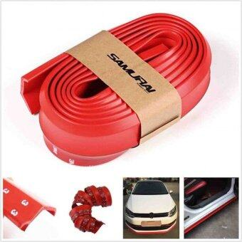 Samurai Rubber Skirt 3M Length Lip Skirt Protector Universal Car Front Lip Bumper Rubber Strip-Red