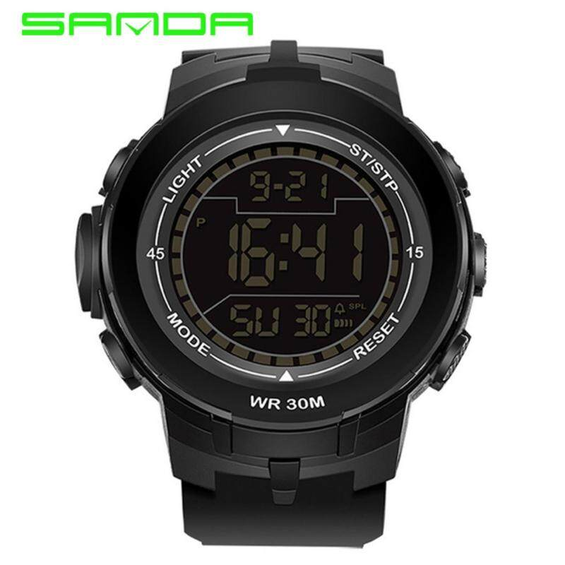 SANDA 340 Big Dial Multifunctional Outdoor Sports Waterproof Digital LED Watch (Full Black)   Malaysia
