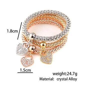 SDP HOT 3 PCS/Set Crystal Butterful Bracelet & Bangle Multiple Shape Elastic Heart Bracelets