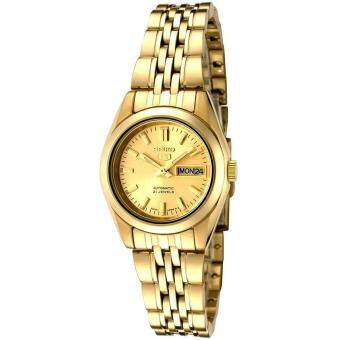 Seiko Watch 5 Automatic Gold Stainless-Steel Case Stainless-Steel Bracelet Ladies Japan NWT + Warranty SYMA38K1