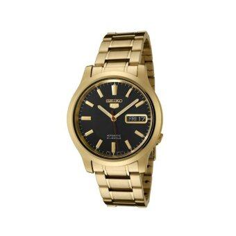 Seiko Watch 5 Automatic Gold Stainless-Steel Case Stainless-Steel Bracelet Mens Japan NWT + Warranty SNK060K1