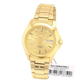 Seiko Watch 5 Automatic Gold Stainless-Steel Case Stainless-Steel Bracelet Mens NWT + Warranty SNKK98K1