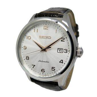 Seiko Watch Automatic Brown Stainless-Steel Case Leather Strap Mens Japan NWT + Warranty SRP705K1