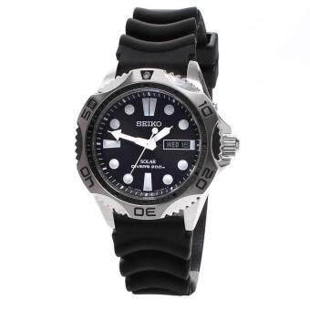 Seiko Watch SOLAR Black Stainless-Steel Case Rubber Strap Mens NWT + Warranty SNE107P2