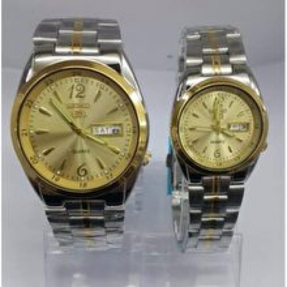 upto 90% Discount( S  E  I  K  O Couple Watch Silver Gold bracelet Gold Dial)