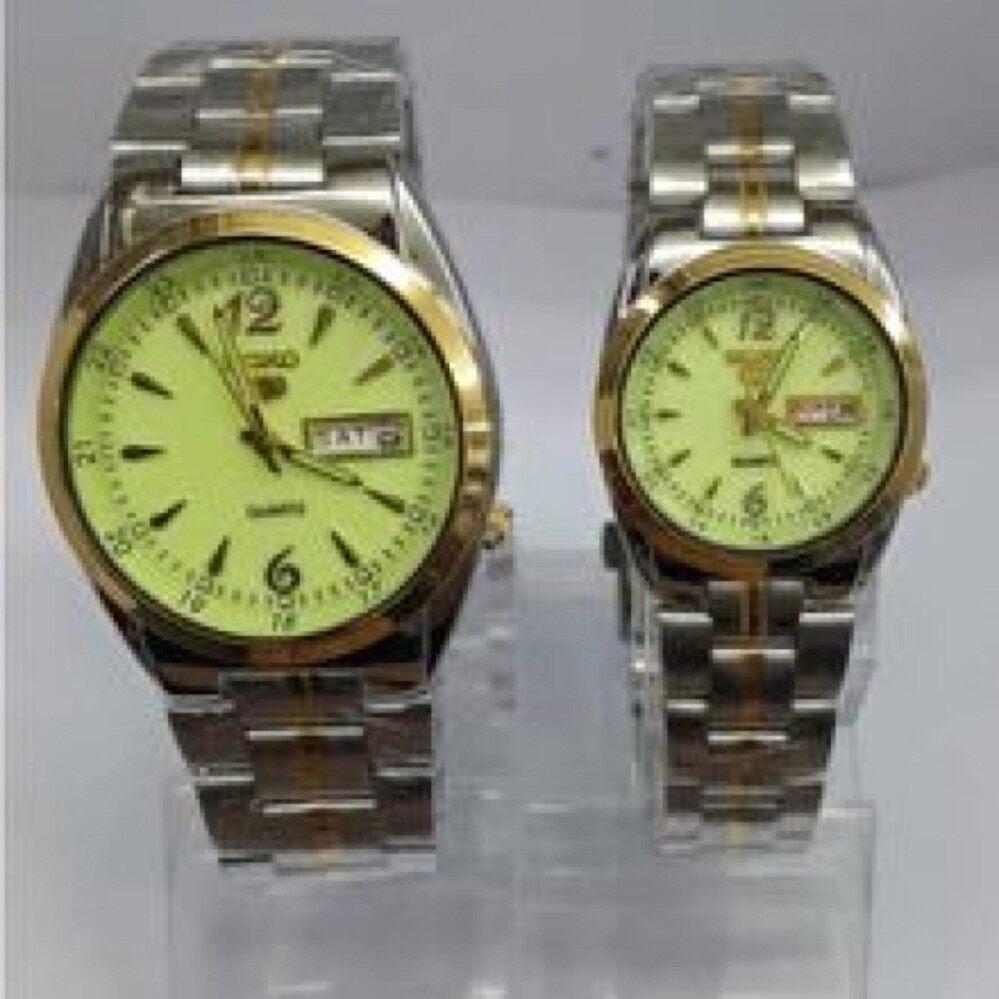 Mega Brand Sale ( S  E  I  K  O Couple Watch silver Gold bracelet Green Dial)