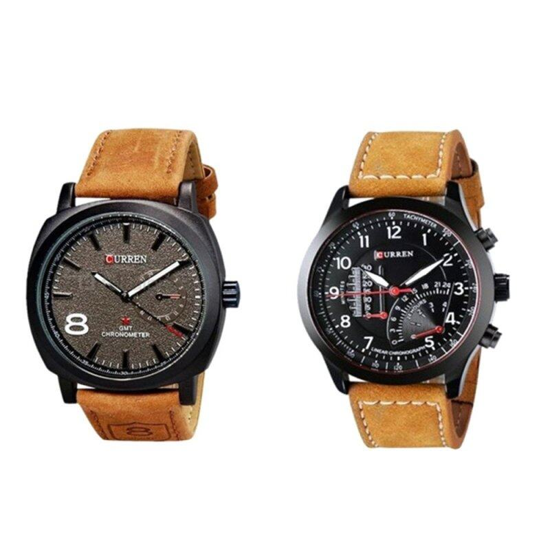 Set of 2 Curren Mens Fashion Leather Watch Malaysia