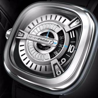 SEVENFRIDAY M1-1 Automatic Rotating Disc Leather Strap Silver Black Watch - 2