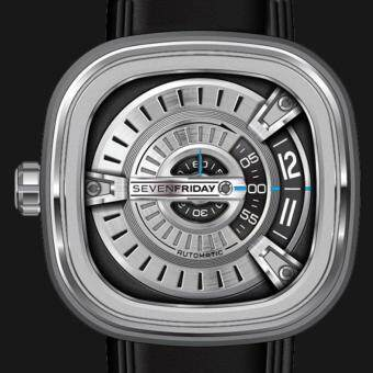 SEVENFRIDAY M1-1 Automatic Rotating Disc Leather Strap Silver Black Watch - 3