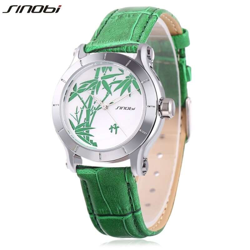 SH Sinobi 9632 Female Quartz Watch Leather Strap Mineral Glass Mirror Plant Pattern Dial Wristwatch Green Green Malaysia