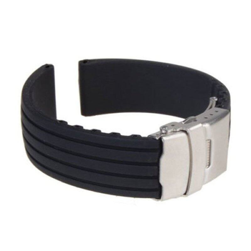 Silicone Rubber Watch Strap Band Deployment Buckle Waterproof 24mm Malaysia