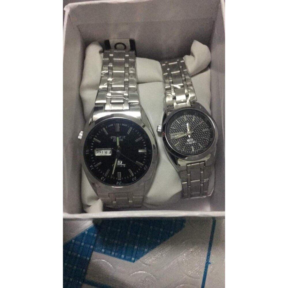 upto 90% Discount(silver bracelet Black Dial  S  E  I  K  O Couple Watch)