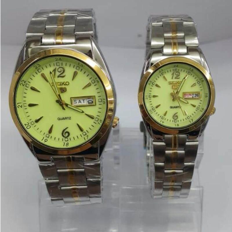 silver Gold bracelet Green  Dial SEIKO Couple Watch Malaysia