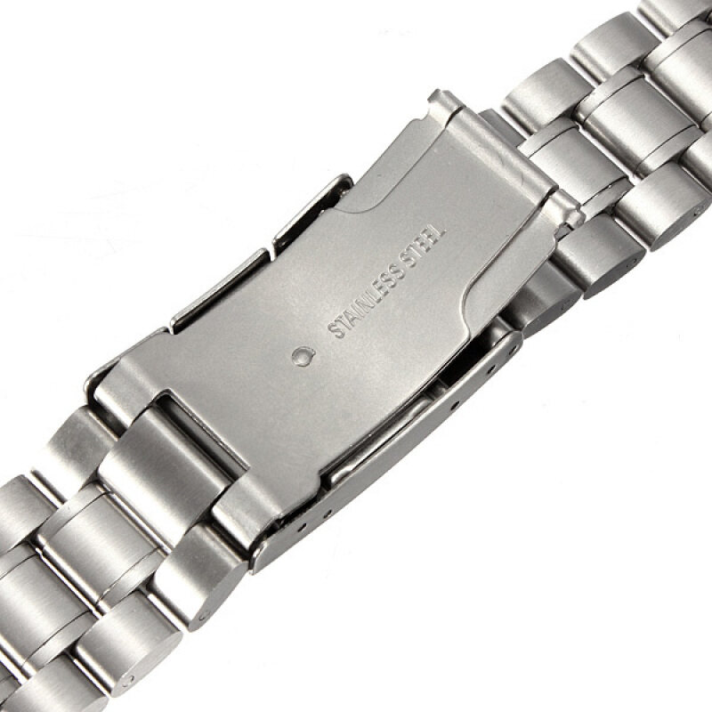 Silver Stainless Steel Watch Band Strap Curved End Solid Links 16mm 18mm 20mm Malaysia