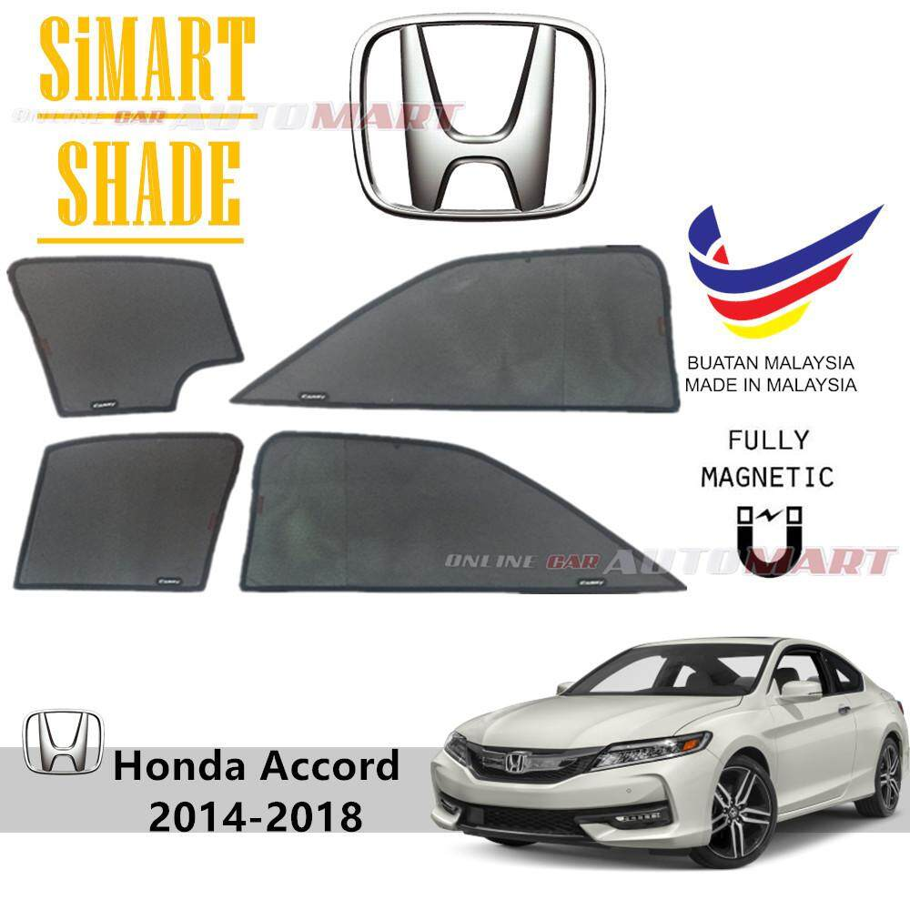 Simart Shade Magnetic Custom Fit OEM Sunshade For Honda Accord Yr 2014 2017  (2.0) 4pcs (Made In Malaysia)