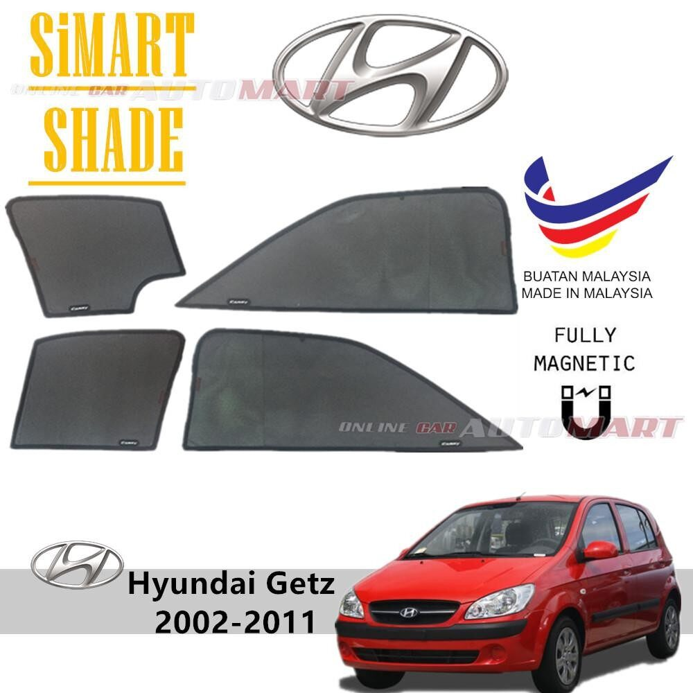 Simart Shade Magnetic Custom Fit OEM Sunshade For Hyundai Getz Yr 2002-2011 4pcs (Made In Malaysia)