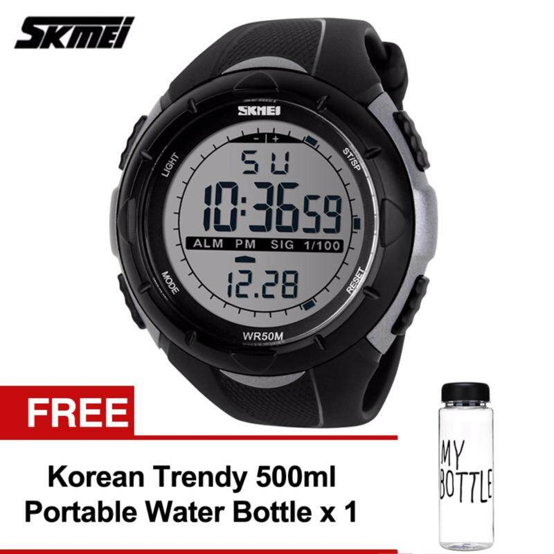 SKMEI 1025 Mens Military Sport Big Dial Digital Watch (Titanium) Free Water Bottle MyBottle Malaysia