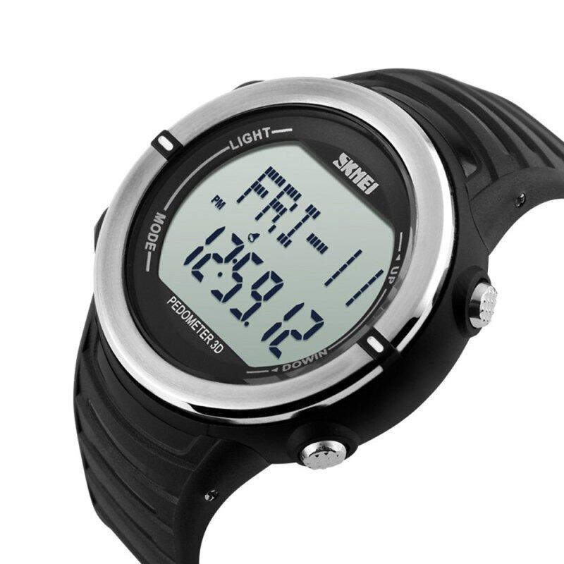Skmei 1111 Sports Digital Watch with Pedometer Heart Rate Function Water Resistant (Silver) Malaysia