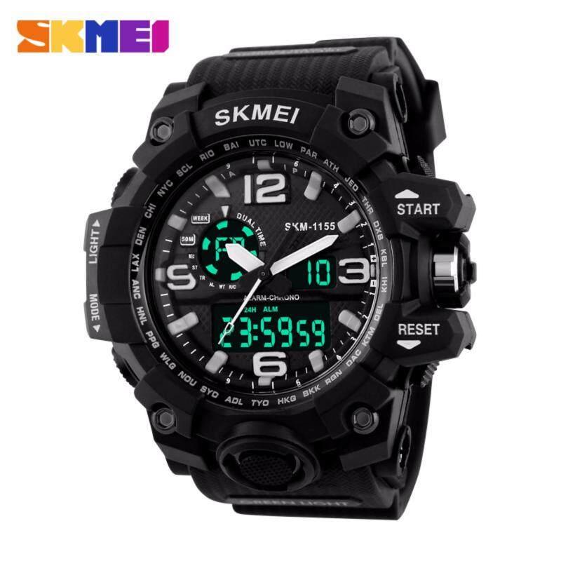 SKMEI 1155 New Sports Men Watches Digital LED Display Sport Watches 50M Waterproof Dual Display Quartz Wristwatches Jam tangan lelaki Malaysia