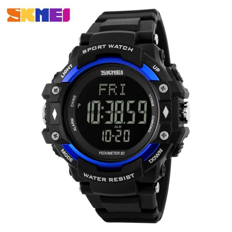 SKMEI 1180 Mens Pedometer Heart Rate Monitor LED Sport Watch (Blue) Malaysia